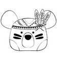 grunge cute bear head animal with feathers vector image vector image