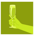 hand holding a glass vector image vector image