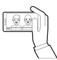hand holding phone mobile with people video player vector image vector image
