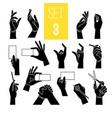 hands gestures with card pen vector image