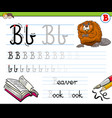 how to write letter b workbook for children vector image vector image