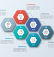 infographic template with hexagons 6 steps vector image vector image