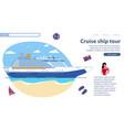 inscription cruise ship tour vector image vector image