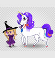 kawaii baby witch girl together with beautiful vector image