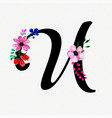 letter u watercolor floral background