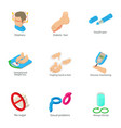 male health icons set cartoon style vector image