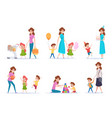 mother with kids happy children spend time with vector image vector image