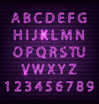 Neon font set night alphabet