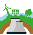 nuclear power plant solar panel and turbine wings vector image