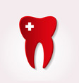 one red tooth from paper style with cross icon vector image