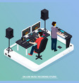 production music isometric composition vector image vector image