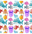 seamless background design with sea animals vector image