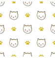 seamless pattern with cats and paws vector image vector image