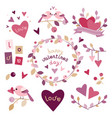 set of design elements for valentines day vector image vector image