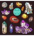 Set Of Icons Crystals Stones vector image vector image