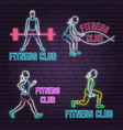 set of neon fitness club sign on brick wall vector image vector image