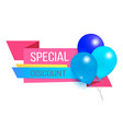 special discount promo label with glossy balloons vector image vector image