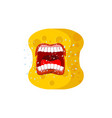 sponge emoji scream emotions shout yellow avatar vector image vector image