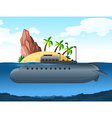 Submarine under the island vector image vector image