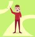 teen boy character angry phone call male red suit vector image