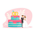 tiny couple newlyweds standing beside wedding vector image vector image