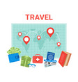 travel planning background pointers on world map vector image vector image