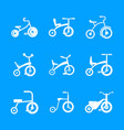 tricycle bicycle bike wheel icons set simple vector image vector image