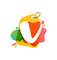 v letter logo with sale tag icon watercolor vector image vector image
