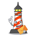 with envelope cartoon realistic red lighthouse vector image vector image