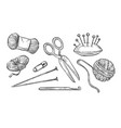 woolen threads ball and knitting tools isolated vector image