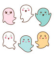 Set of kawaii ghosts with different facial vector image