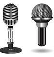 Vintage silver microphones vector image