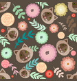 cute seamless pattern with different plants vector image
