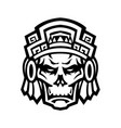 aztec warrior skull viewed from front mascot vector image vector image