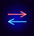 back forward line arrow neon sign vector image vector image