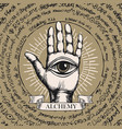 banner with open hand with all seeing eye symbol vector image