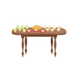 banquet table with food and drinks delicious food vector image