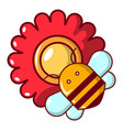 Bee on a flower icon cartoon style vector image