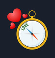 Compass points to love Flat design Isolated on vector image