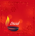 Creative diwali diya on red background with text