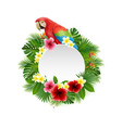 cute parrot with blank sign on plant background vector image vector image