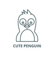 cute penguin line icon linear concept vector image