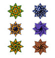 different kaleidoscopic flowers vector image