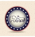 Donkey and elephant of vote inside button design