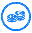 euro coin stacks rounded icon rubber stamp vector image vector image