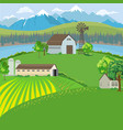 farm landscape with farm house windmill and vector image