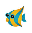 funny blue-yellow fish with big shiny eyes sea vector image
