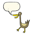 funny cartoon duck with speech bubble vector image vector image