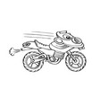 funny kids motorcycle line art vector image