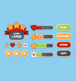 game ui menu buttons for smartphone mobile games vector image
